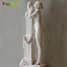 Hand carved nude girl whisper to Venus marble statues