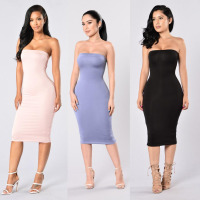Women's Boobtube Strapless Bandeau Midi Dress Elastic Band Sexy Comfortable Tube Top Bodycon Midi Dress in Various Colors
