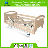 China BT-AE122 Electric Home Care Nursing Bed, Wooden Hospital Bed with side rails