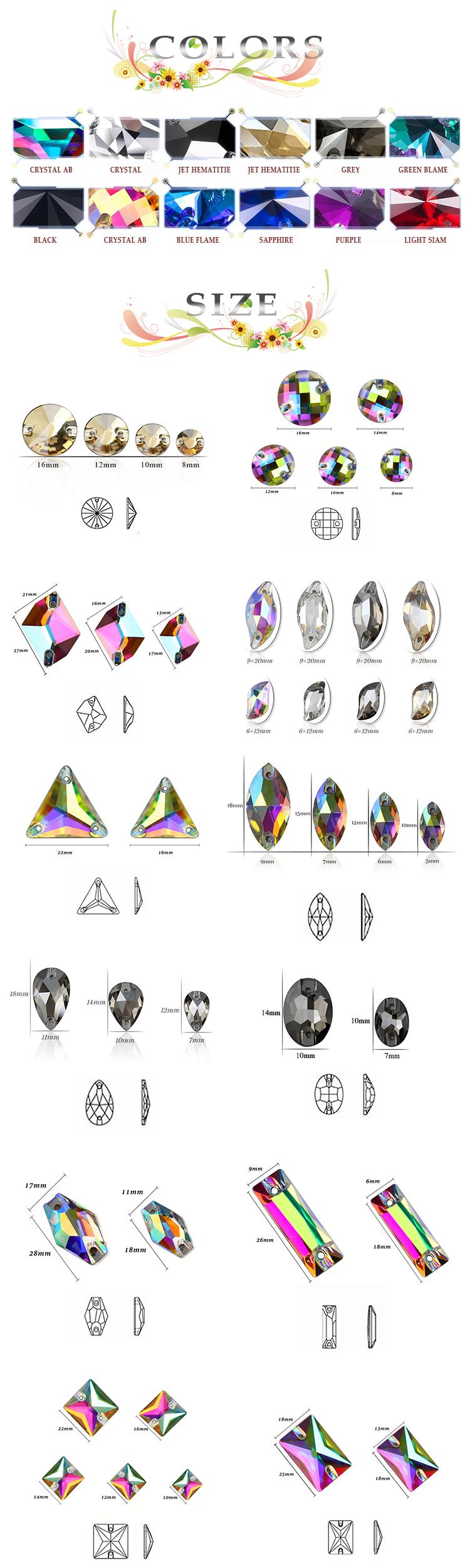 Haut Triangle 16mm 22mm Cristal AB Coudre Sur Pierre 3 Trous En Verre Strass Pour Cheveux Vêtements À Coudre sur vêtements