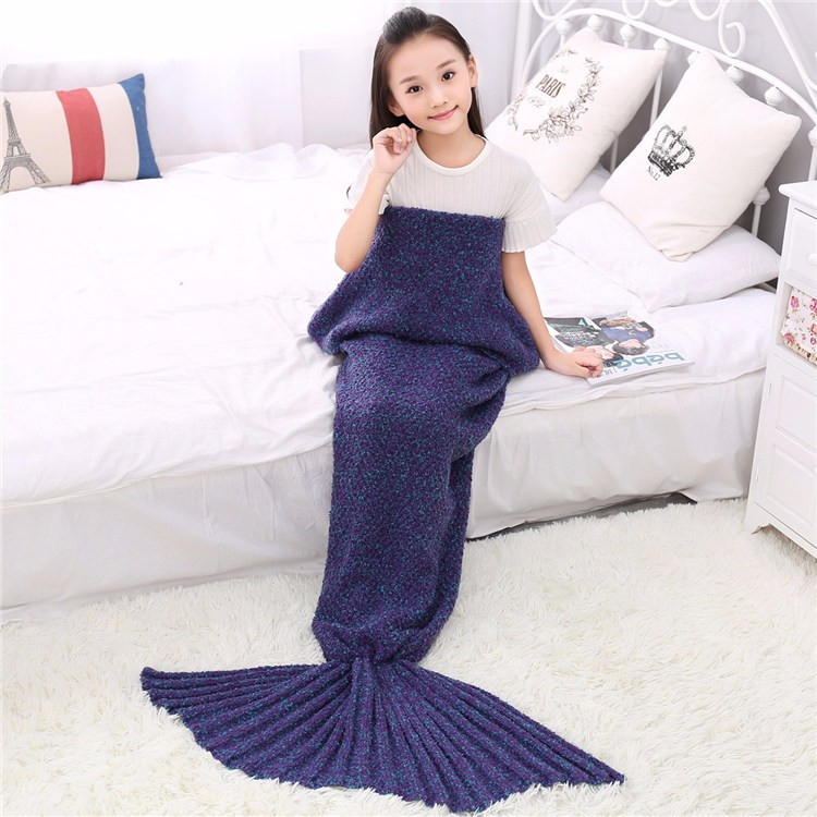 wholesale adult child Acrylic knit mermaid blanket, mermaid tail blanket knit pattern