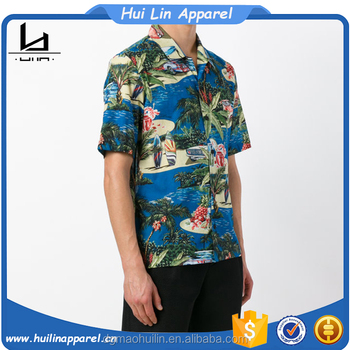 China online shopping short sleeve multicolour cotton shirt custom printed hawaiian shirt
