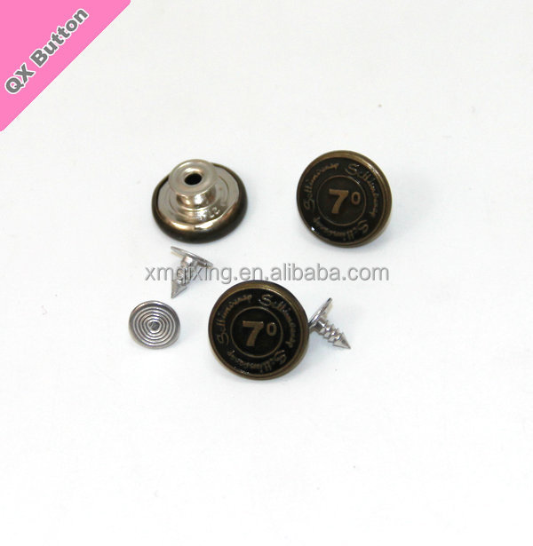 Customerized design sliver free denim jeans tack button with pins metal hammer on snaps