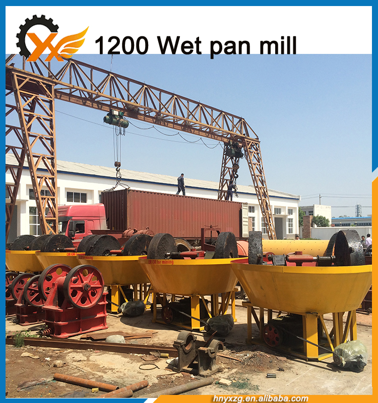 good performance gold ore grinding machine,wet pan mill, with durable accessoties and thickened steel plate