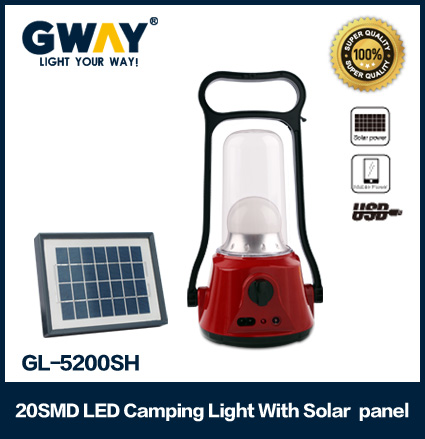 20 SMD rechargeable portable solar lamp with USB mobile charger and solar panel