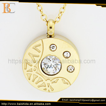 Engagement Charms Gold Plated Stainless Steel Jewelry Necklace For Zircon Decorate By Baicheng