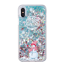 Christmas snowman Liquid mobile phone case cover for iphone 6 7 8 X case