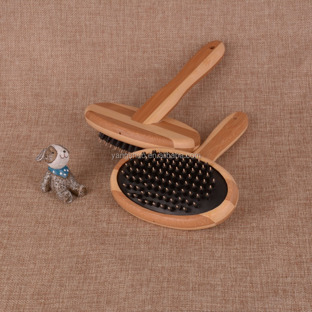 Pet hair removal slicker brush for pet grooming with bamboo handle