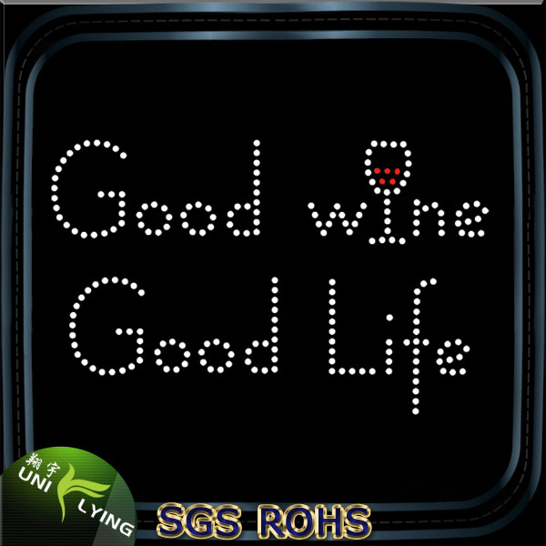 Simple Letters Good Wine Good Life Strass Transfer