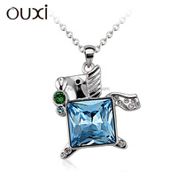 OUXI 2015 fashion design wholesale crystal horse pendant jewelry necklace 10961