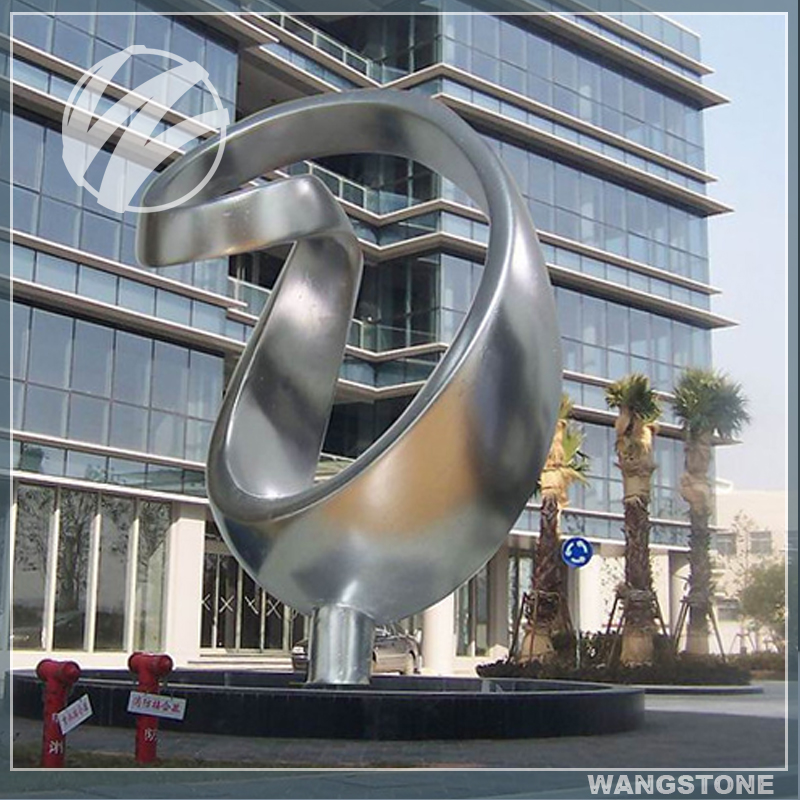 Modern Outdoor Stainless Steel Sculpture for Office Building