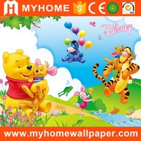 cartoon style animals wallpaper for kids room decor