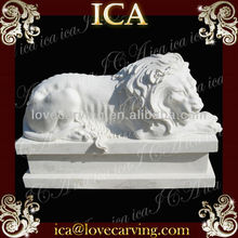 hand carved marble lion head sculpture