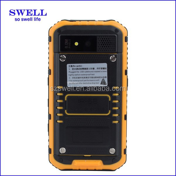 Android 4.4.2 Front Camera 2MP Back Camera 5MP auto focus Best rugged mobile phone with CPU MTK 6582 Anti-water IP68
