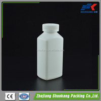 190ml square pill plastic hdpe white bottle with child resistant cap