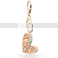 Leopard Print Crystal Heart Key Chain for Lovers Forever Love Beautiful Fashion Jewelry Latest Design