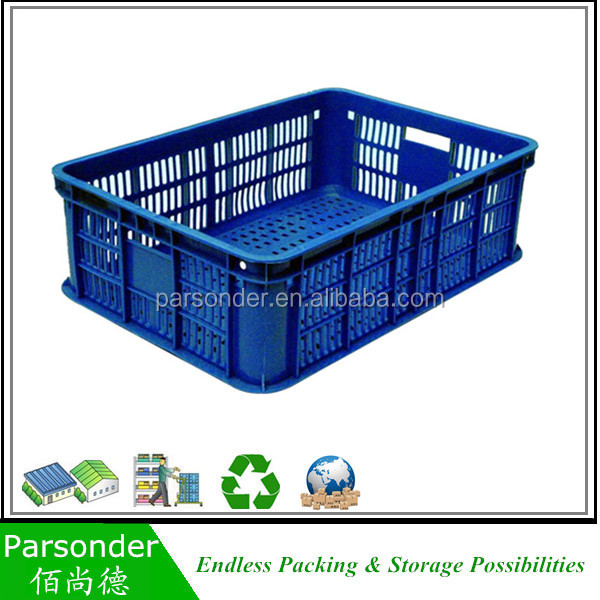 Stacked Custom Order folding plastic fruits vegetables crates