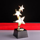 Metal star trophy black crystal base Custom logo star trophy awards