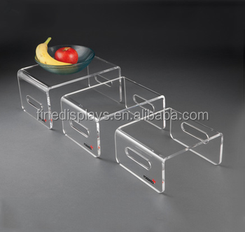 Clear Acrylic Rectangular Risers AND nhanece tabletop display(Set of 3) -AR-U-555