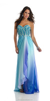 Fancy Staining Sweetheart Beaded Sequins Floor Length Elegant Evening Turquoise Chiffon Long Dress