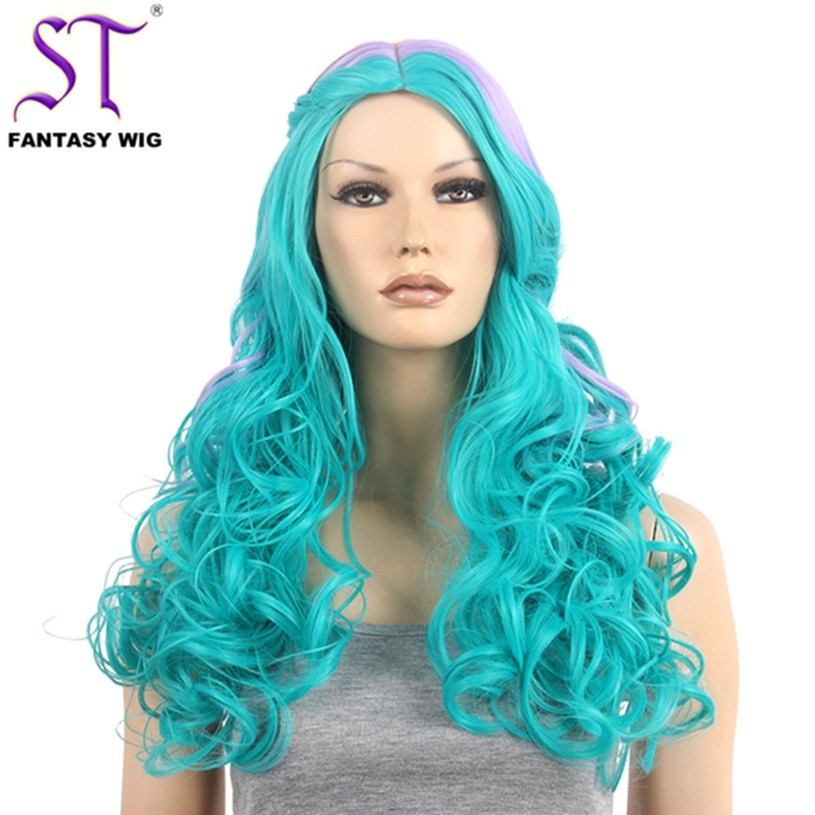 Wholesale Braided Wig Styles From China Green Mixed Color Long Curly Wig For Party