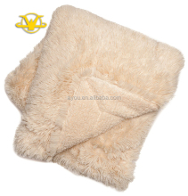 Cream long pile plush fabrics faux fur blanket