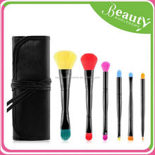 6pcs double head makeup brush set with bag ,SY022 6pcs synthethic cosmetic brush
