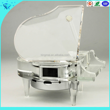 2015 new design clear K9 crystal piano music box laser engraved for souvenirs and gifts