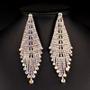 Silver Plated Long Crystal Drop Earrings Diamante Bridal Rhinestone Dangle Wedding Earrings