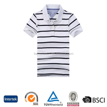 Summer cool knitted cotton striped model short sleeve custom logo slim fit polo tshirt