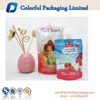 Stand up liquid packing container/Stand up pouch with spout for liquid/squeezy snack packaging