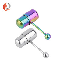 colorful Stainless Steel Barbel lTongue Bar vibrating body piercing jewelry