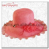 Lady high quality straw hat with lace