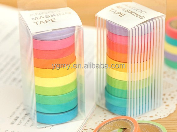 75mm X 5m Decorative Adhesive Tape Candy Color Washi Rainbow Sticky Paper Masking Tape Scrapbooking Diy paper tape