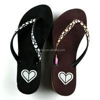 New arrival leisure design wedge heel slipper/ diamond decorated ladies dress shoes