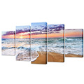 5 Piece Sunset Sea Beach Canvas Wall Art Pictures Print on Canvas Home Decoration Living Room Bedroom Decor