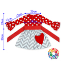 Red Cotton White Dots Sash Kids Clothes Dress Ruffle Sleeve Cotton Dresses For Kids