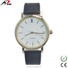 IPG plated alloy case soft vintage leather band watch