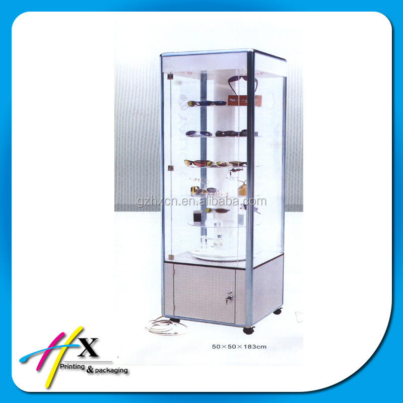 Floor standing wooden optical frame display eyeglass design cabinet with lock