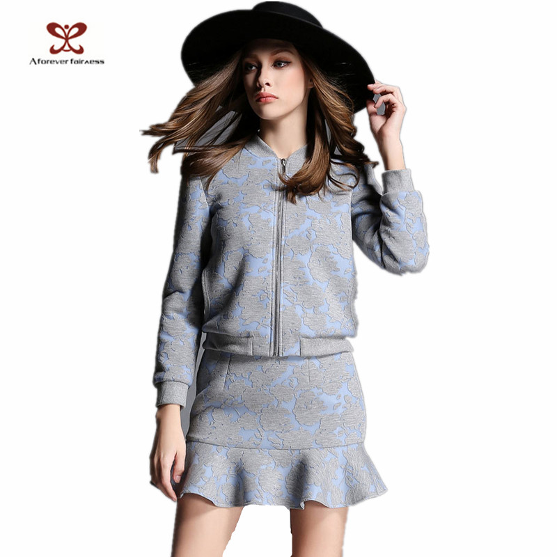 2015 good quality 2Pcs long sleeve skirt suit women easy suits