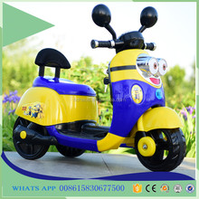 New design baby motor car minions cartoon kids children rechargeable battery toy motorcycle