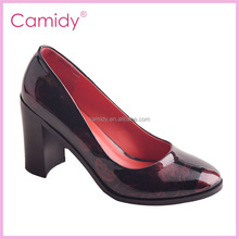fashion women court shoe red patent leather gold heel pump shoe