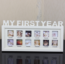 wood My First Year Picture Frame for Newborn Baby Hanging Decorative Photo Frame