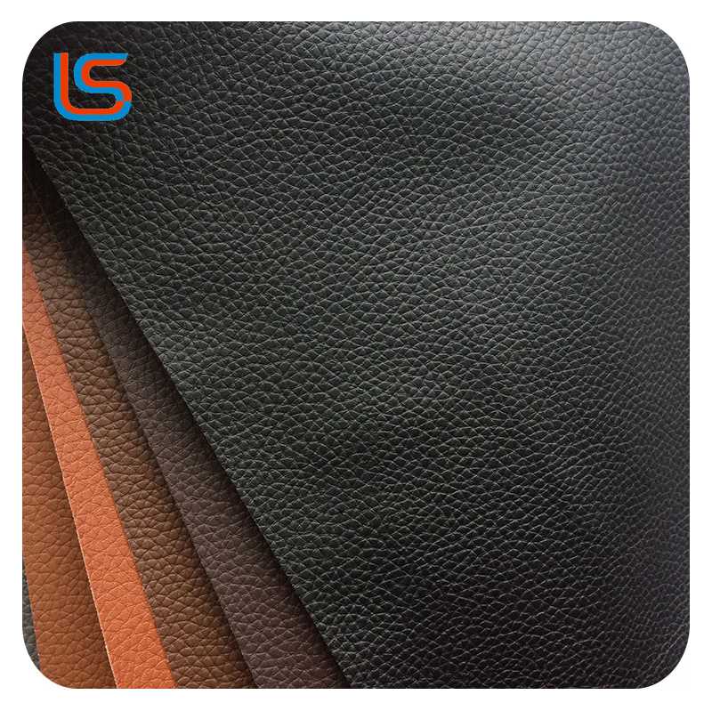 Classical Litchi design PVC leather with knit backing for sofa