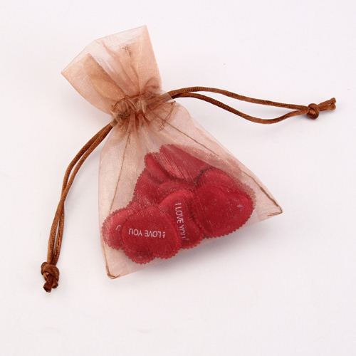 Personalized drawstring organza bag for jewelry with ribbon bow