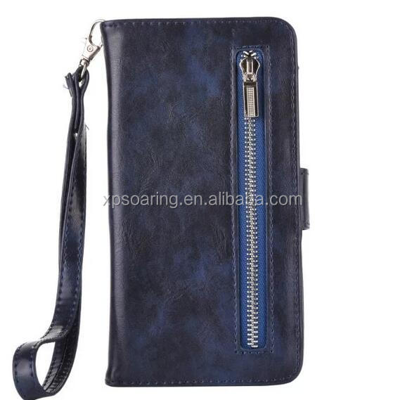 Wholesale detachable wallet case for iPhone 5 5S, Zipper wallet case for iPhone 5