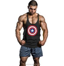 latest fashion gym tank top Captain America printing undershirts cotton tank top men gym