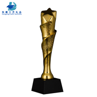 2019 new products ideas wholesale star shaped crytsl golden resin pillar trophy craft with base