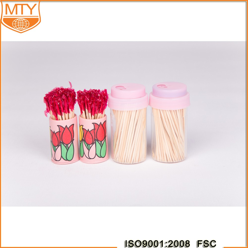 Natural Bamboo Toothpicks Environmental Disposable Bottled Brush Toothpick