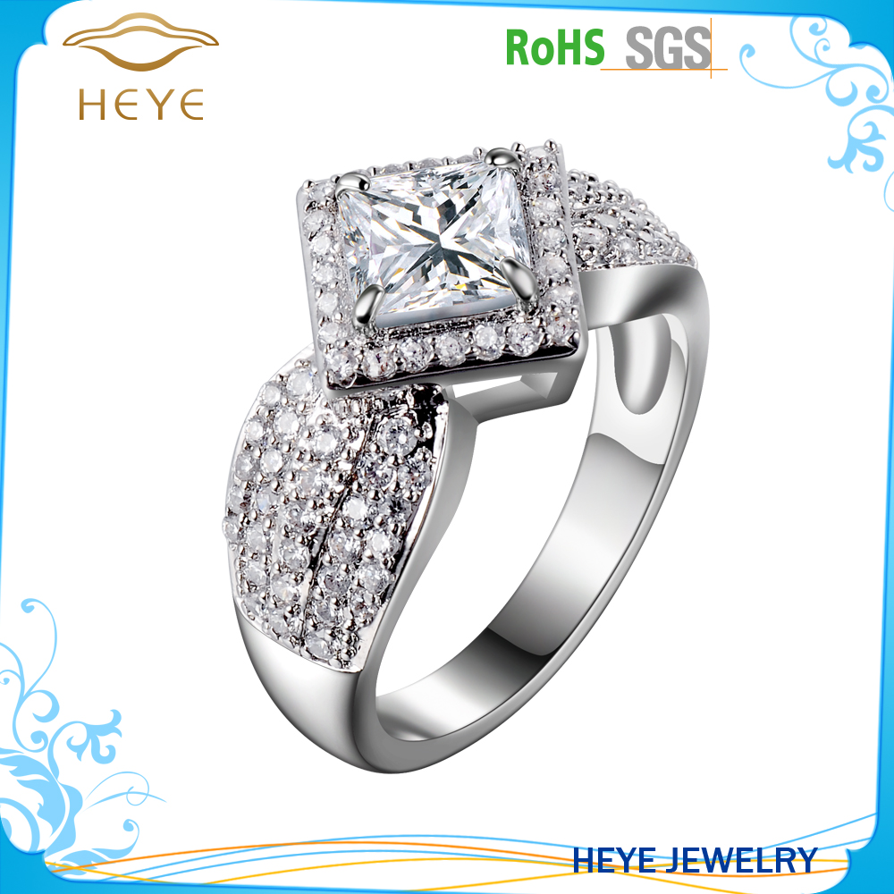 Latest wedding designs rings Unique Fashion Ring 925 Sterling Silver Diamond CZ Ring Jewelry